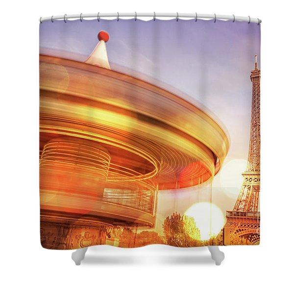 Eiffel Tower Carousel Shower Curtain