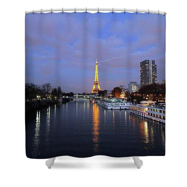 Eiffel Tower Over The Seine Shower Curtain