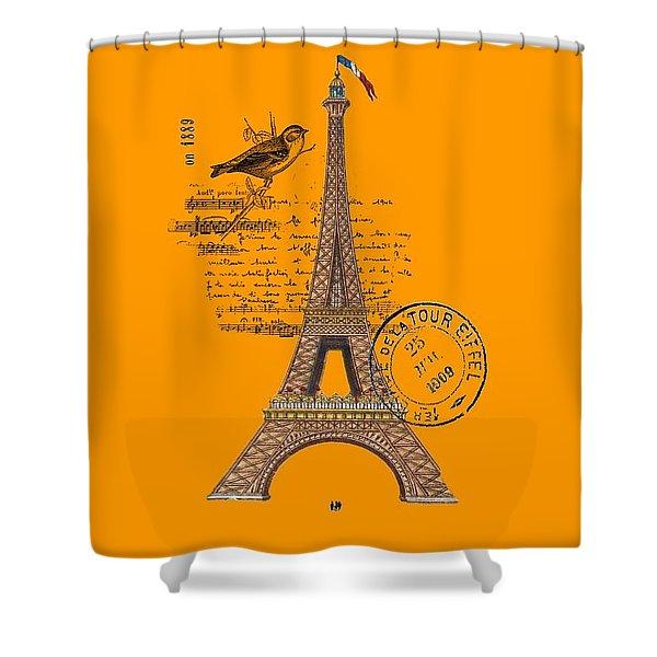 Eiffel Tower T Shirt Design Shower Curtain