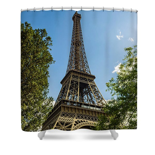 Eiffel Tower Through Trees Shower Curtain