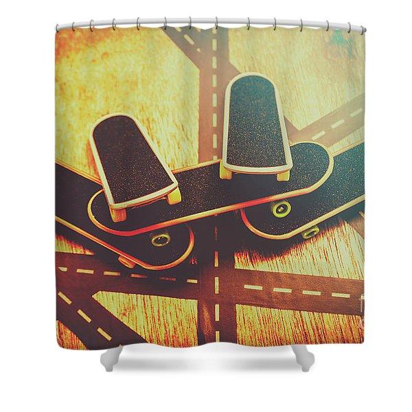 Eighties Street Skateboarders Shower Curtain