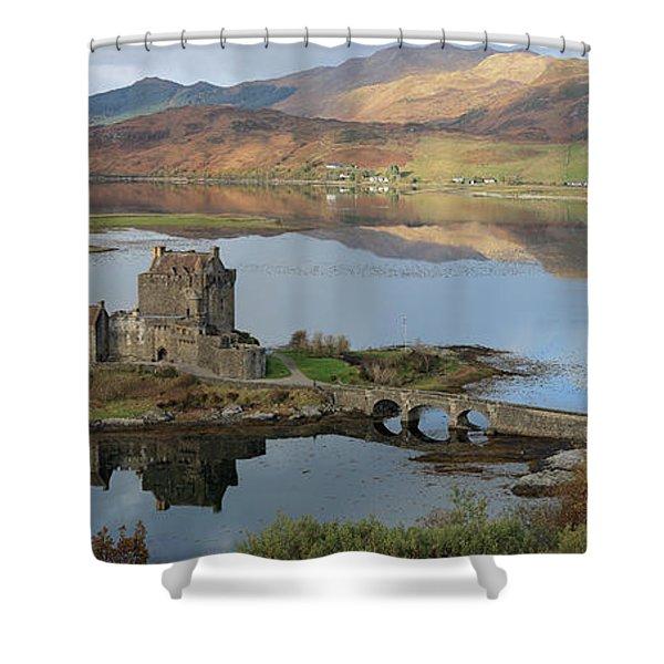 Eilean Donan Castle In Autumn - Panorama Shower Curtain