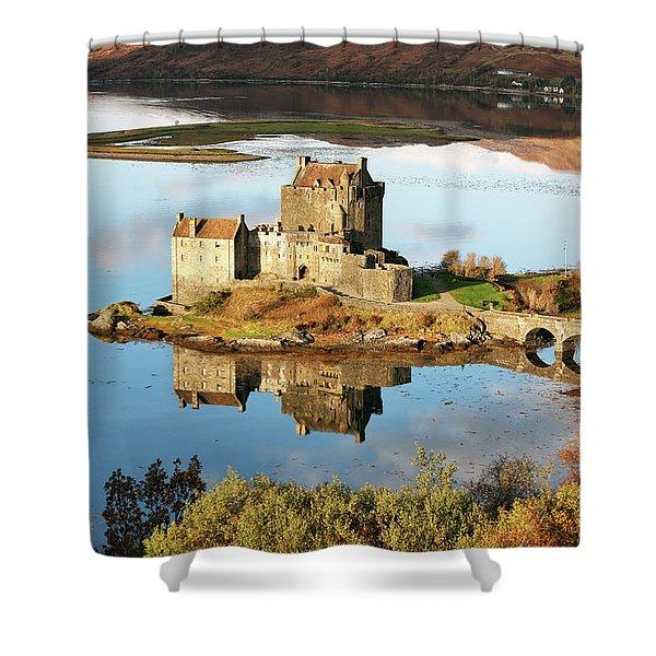 Eilean Donan - Loch Duich Reflection - Skye And Lochalsh Shower Curtain
