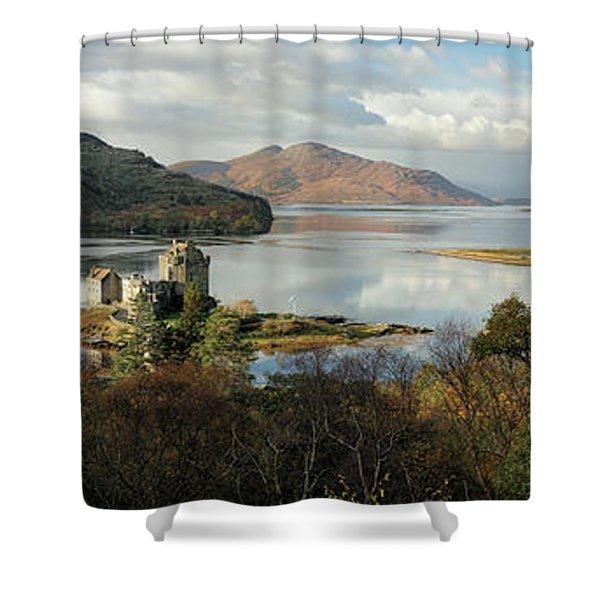 Eilean Donan Panorama - Autumn Shower Curtain