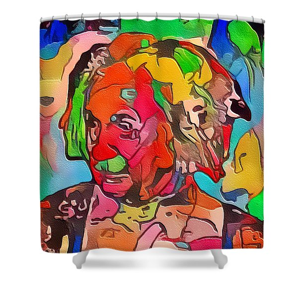 Shower Curtain featuring the painting Einstein by Mark Taylor