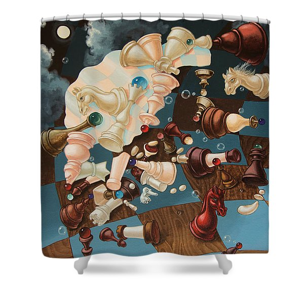 Einstein, Who Did Not Know How To Play Chess. Shower Curtain