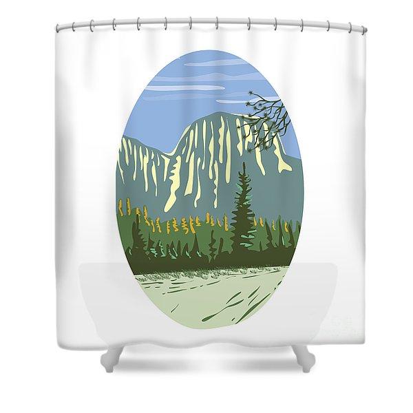 El Capitan Granite Monolith Oval Wpa Shower Curtain