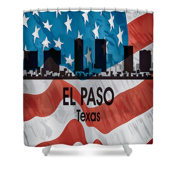 El Paso Tx American Flag Vertical Shower Curtain