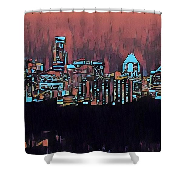 Electric Austin At Dusk Shower Curtain