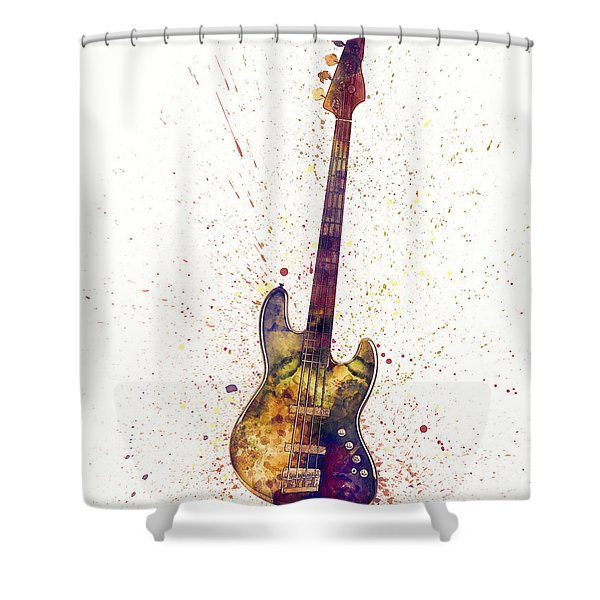 Electric Bass Guitar Abstract Watercolor Shower Curtain