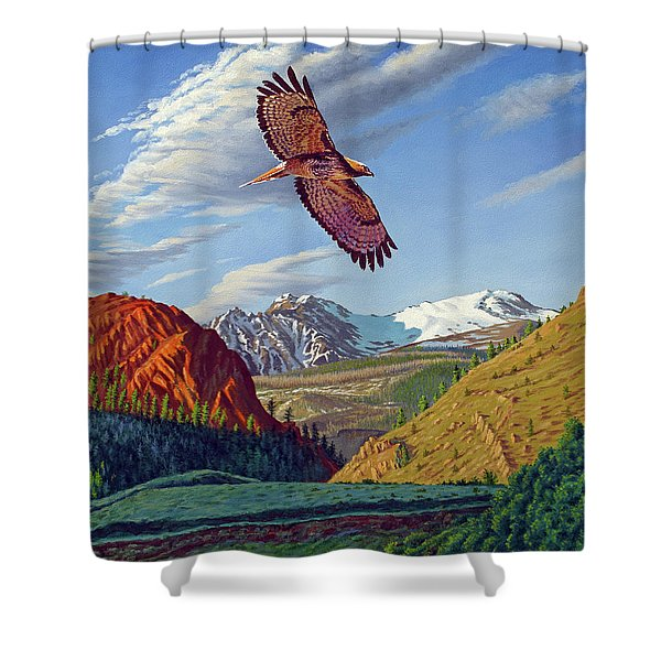 Electric Peak With Hawk Shower Curtain