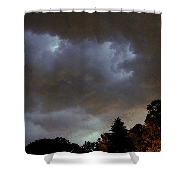 Electric Sky Of Faces Shower Curtain