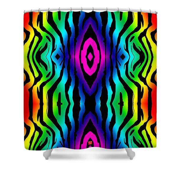 Electric Zebra Black Shower Curtain