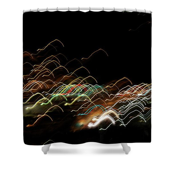 Shower Curtain featuring the pyrography Electronic Landscape by Michael Lucarelli