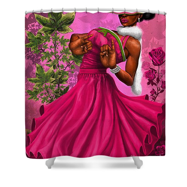 Elegant Pink And Green Shower Curtain