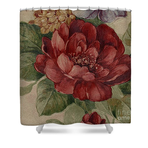 Shower Curtain featuring the mixed media Elegant Rose by Writermore Arts