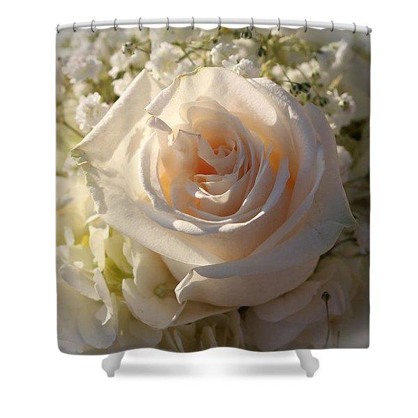 Elegant White Roses Shower Curtain