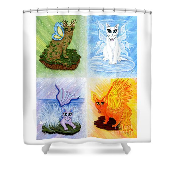 Elemental Cats Shower Curtain
