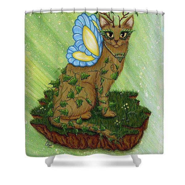 Elemental Earth Fairy Cat Shower Curtain