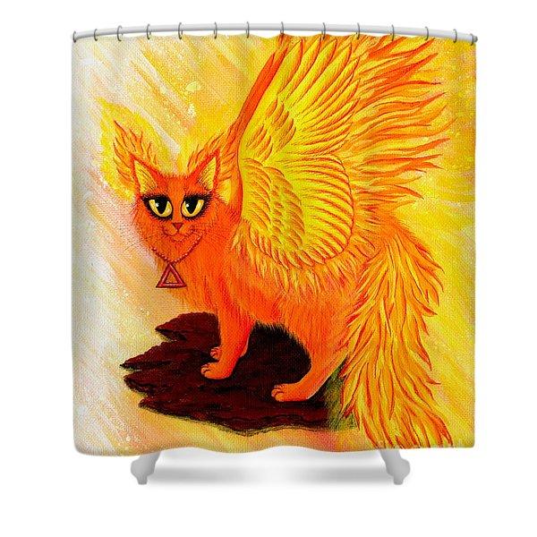 Elemental Fire Fairy Cat Shower Curtain