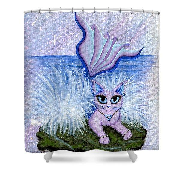 Elemental Water Mermaid Cat Shower Curtain