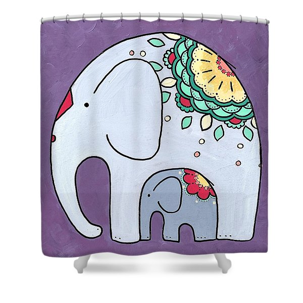 Elephant And Child - On Purple Shower Curtain
