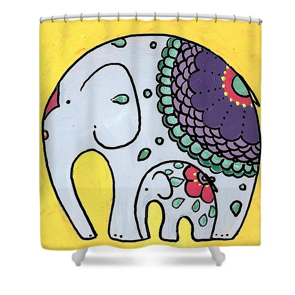 Elephant And Child On Yellow Shower Curtain