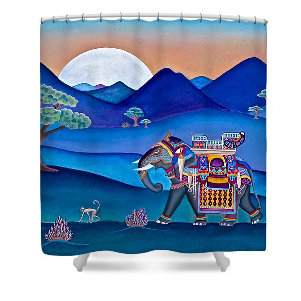 Elephant And Monkey Stroll Shower Curtain
