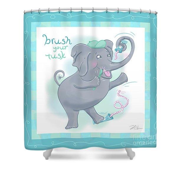 Elephant Bath Time Brush Your Tusk Shower Curtain
