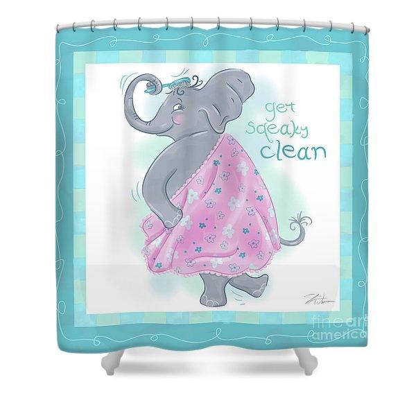Elephant Bath Time Squeaky Clean Shower Curtain