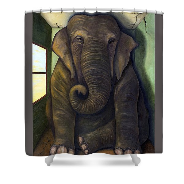Elephant In The Room With Lettering Shower Curtain