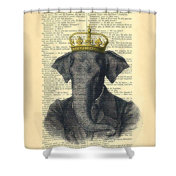 Elephant With Crown Nursery Decor Shower Curtain
