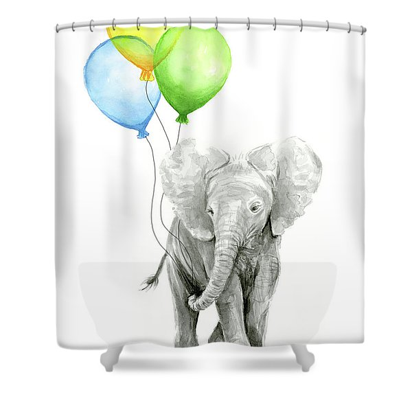 Elephant Watercolor Baby Animal Nursery Art Shower Curtain