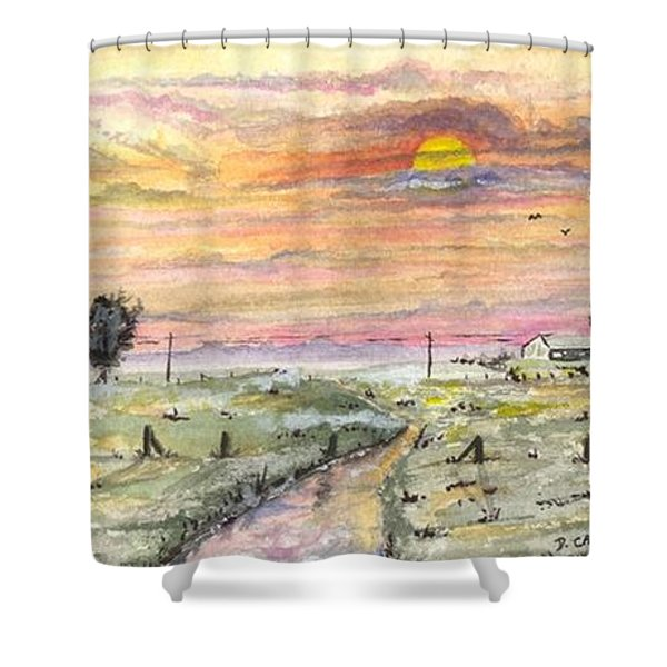 Elevator In The Sunset Shower Curtain