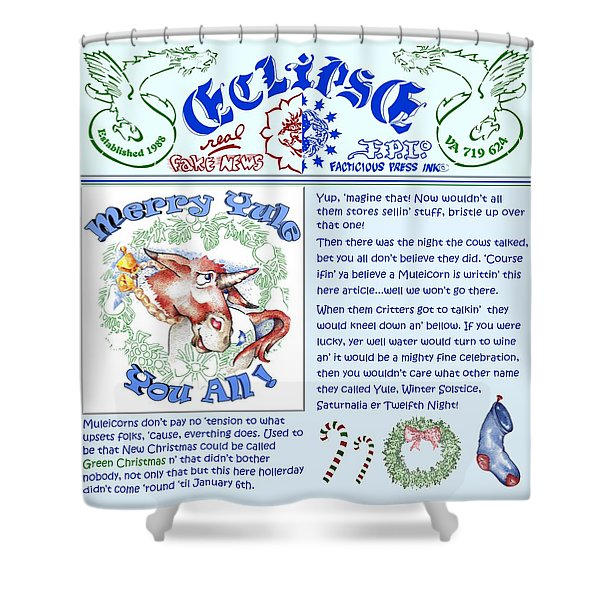 Real Fake News Merry Yule Column Shower Curtain