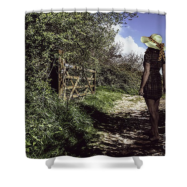 Eliza's Walk In The Countryside. Shower Curtain