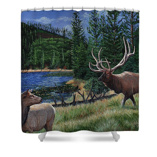 Elk At Beaver Lake  Yellowstone Shower Curtain