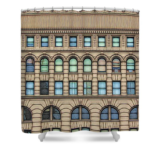 Ellicott Square Building Buffalo Ny Ink Sketch Effect Shower Curtain