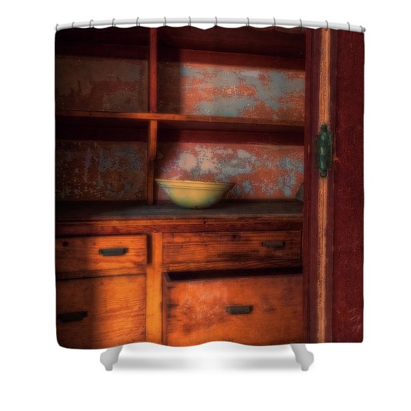 Shower Curtain featuring the photograph Ellis Island Cabinet by Tom Singleton