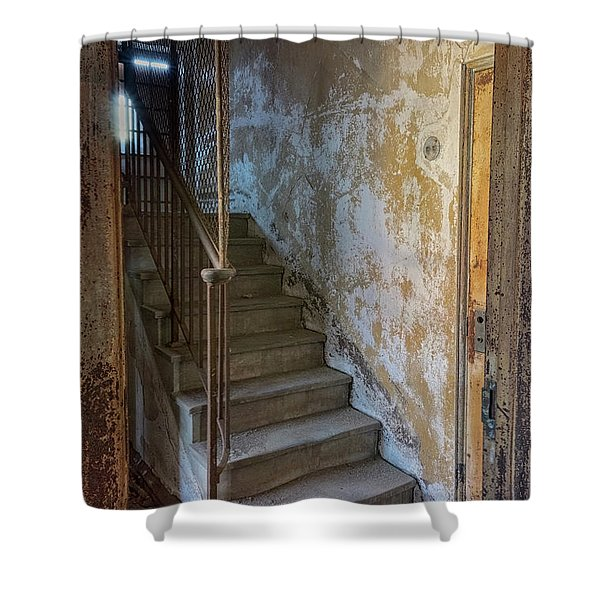 Shower Curtain featuring the photograph Ellis Island Stairs by Tom Singleton