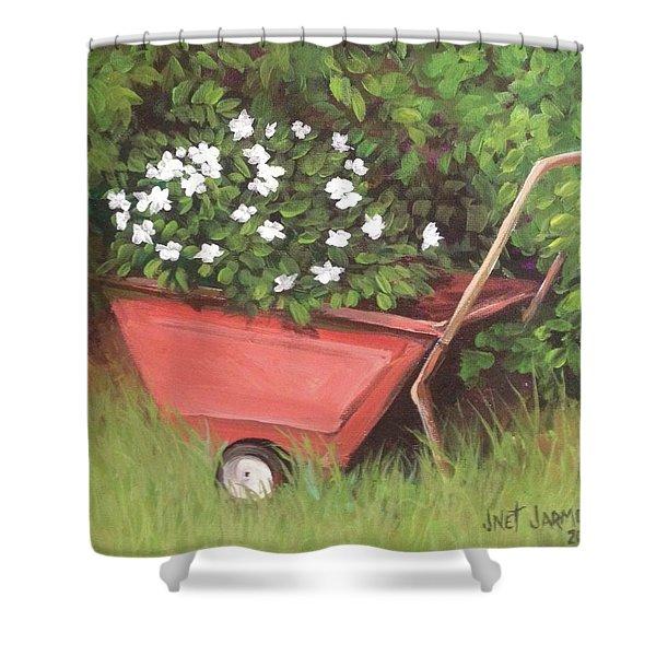 Eloise's Garden Cart Shower Curtain