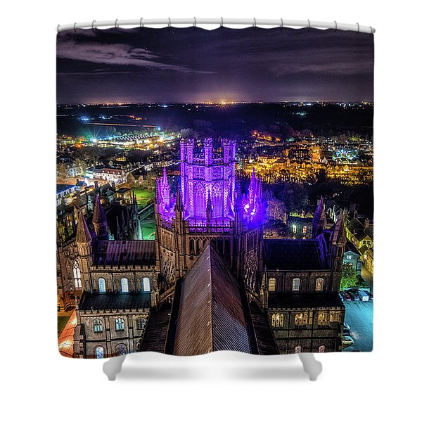 Ely Cathedral In Purple Shower Curtain