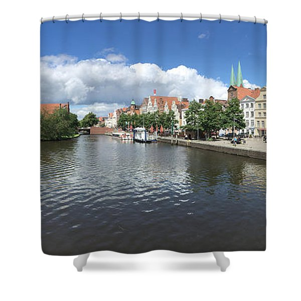 Embankment Of Trave In Luebeck Shower Curtain