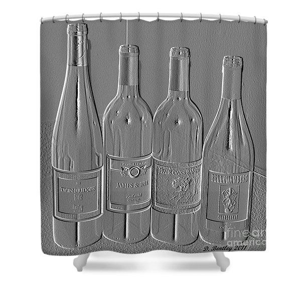 Embossed Wine Bottles Shower Curtain