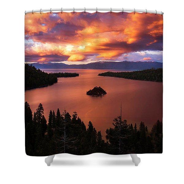 Emerald Bay Fire Shower Curtain