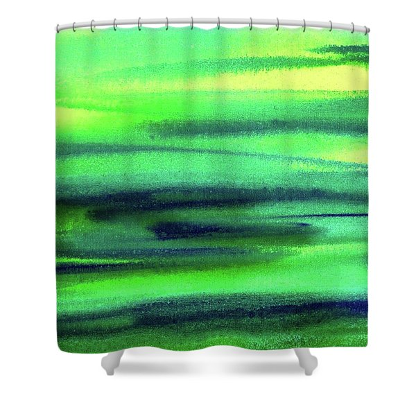 Emerald Flow Abstract Painting Shower Curtain