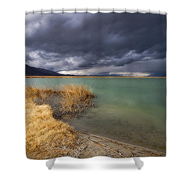Emerald Green Storm Shower Curtain