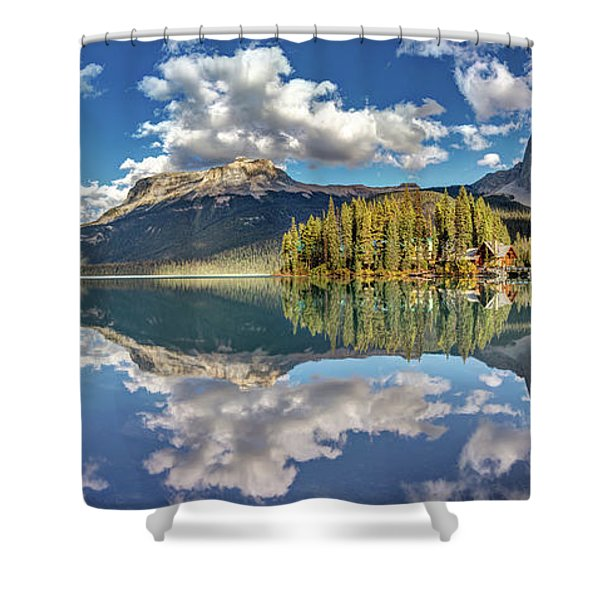 Emerald Lake Panorama Shower Curtain