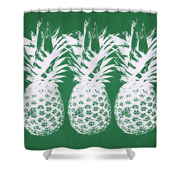 Emerald Pineapples- Art By Linda Woods Shower Curtain