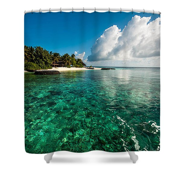 Emerald Purity. Maldives Shower Curtain